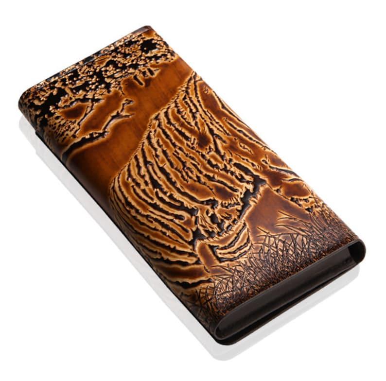 Long Wallet Men Long Wallet Women Motimo Tiger Embossed Brown Long Leather Wallet