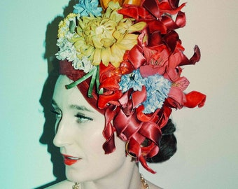 Red hat  Headdress - Fascinator - Burlesque - FLOWERS - Vintage - floral headpiece -crown - velvet