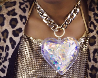 iridescent filled giant 3d love heart necklace on chunky silver chain - jewel - gem - cute - costume - statement necklace