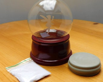 Etched glass Snow Globe Kit / Water Globe Kit (100mm glass dome, wooden base) - Fairy