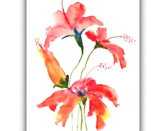 Red hibiscus flowers, Original watercolor painting, Small painting, Floral art, Gift, Home decorate, Room decorate, size 16.7 x 21 cm