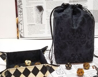 Harlequin Dice Bag with Pockets -  tabletop gaming - nerdy gifts - DnD accessories