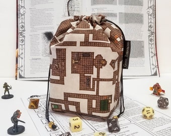 Dungeon Map Dice Bag with Pockets - tabletop gaming - nerdy gift - dnd gifts