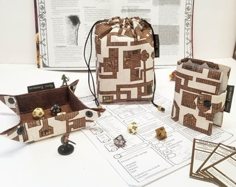 Dungeon Map RPG Bundle, Tabletop Gaming Gift Set, Dice bag with pockets, small dice tray, Spell book/card album