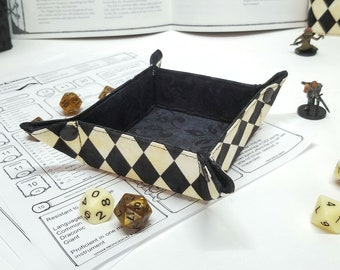 Collapsible Dice Tray - Small Dice tray for Tabletop gaming - dnd gifts - Harlequin Check