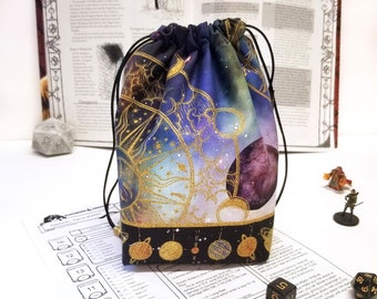 Dice Bag with Pockets -  tabletop gaming - nerdy gift - dnd gifts - space print