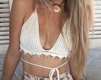 Crochet bikini top. Cowrie shell bra. 70s style. Swimwear for women. Gift for travellers. Competition bathing suit. Boho bikini. halter top.