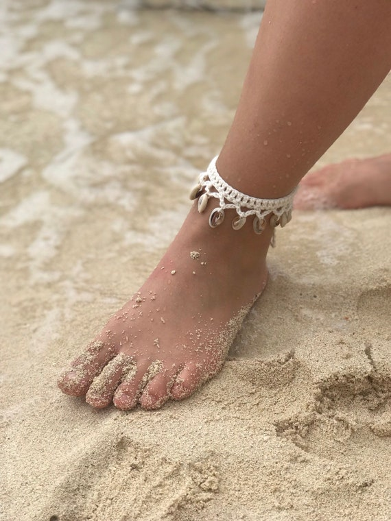Ankle Beach earrings. Surf anklet choker or tumult yarn nipples and cowries shells bracelet Hippie choker
