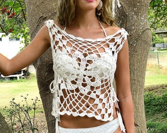 Boho crochet tunic. Beach tank with side ties. Women's tie up top. Flower power clothing. 70s outfit. Summer crochet clothes. Open side top.