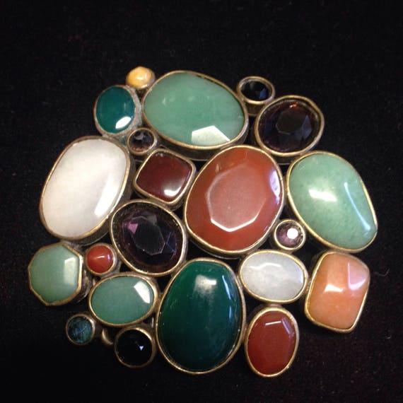 Belt buckle abstract gemstones