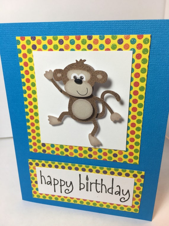 Happy Birthday Adorable Monkey Birthday Card Handmade Etsy