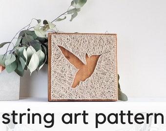 Hummingbird DIY string art pattern with instructions