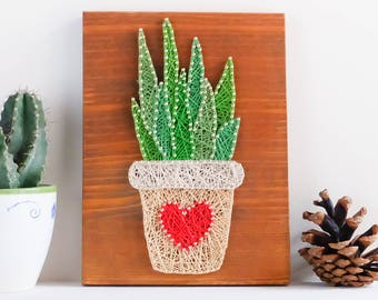 Succulent, Cacti wall art decor, colorful and modern plant string art decor, potted succulent wall decor for minimalist, Mother's day gift