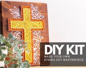 Cross String Art DIY Kit Beginners Christian Wall Art Easter Christmas Crafting Project Starter Pack Religious Nail Art Pattern