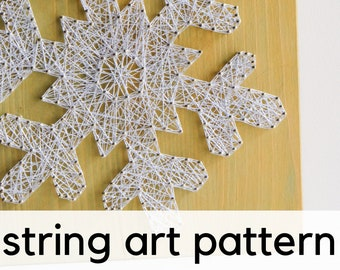Christmas Snowflake string art pattern with instructions