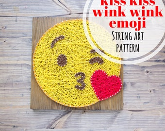 String art pattern printable smarty pants emoji diy template etsy string art pattern printable kiss and wink emoji diy template and tutorial string art template for handmade christmas gifts for everyone maxwellsz