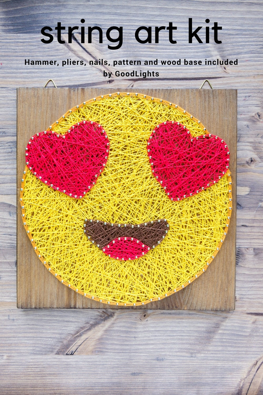 In-love emoji string art kit string art kit for adults and | Etsy