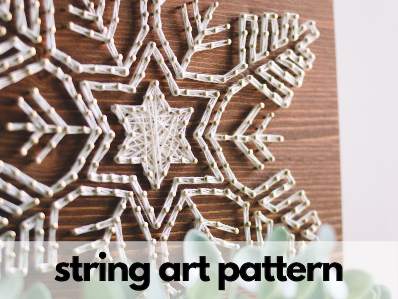 String art pattern printable Modern Christmas Snowflake string art pattern with instructions and tips