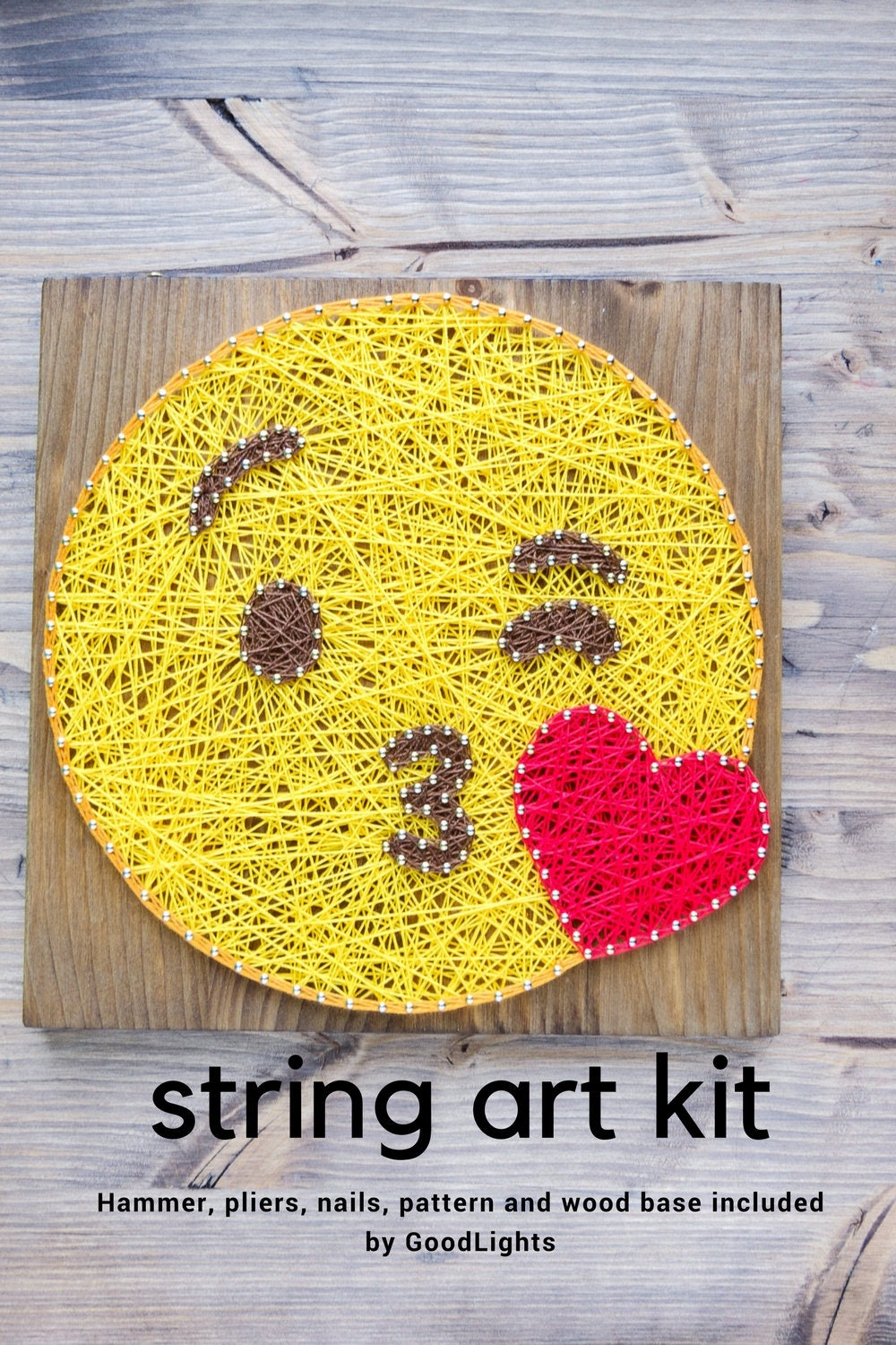 Kiss and wink emoji string art kit string art kit for adults | Etsy