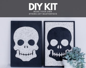 Halloween DIY craft kit for adults and kids Skull silhouette String art DIY kit. Step by step DIY gift for friends and family for Holidays.