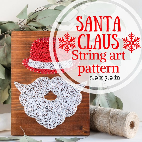 photograph regarding Santa Claus Patterns Printable named Winter season string artwork behavior printable, Xmas Santa Claus decor Do-it-yourself template and information, string artwork craft package for youngsters and grown ups