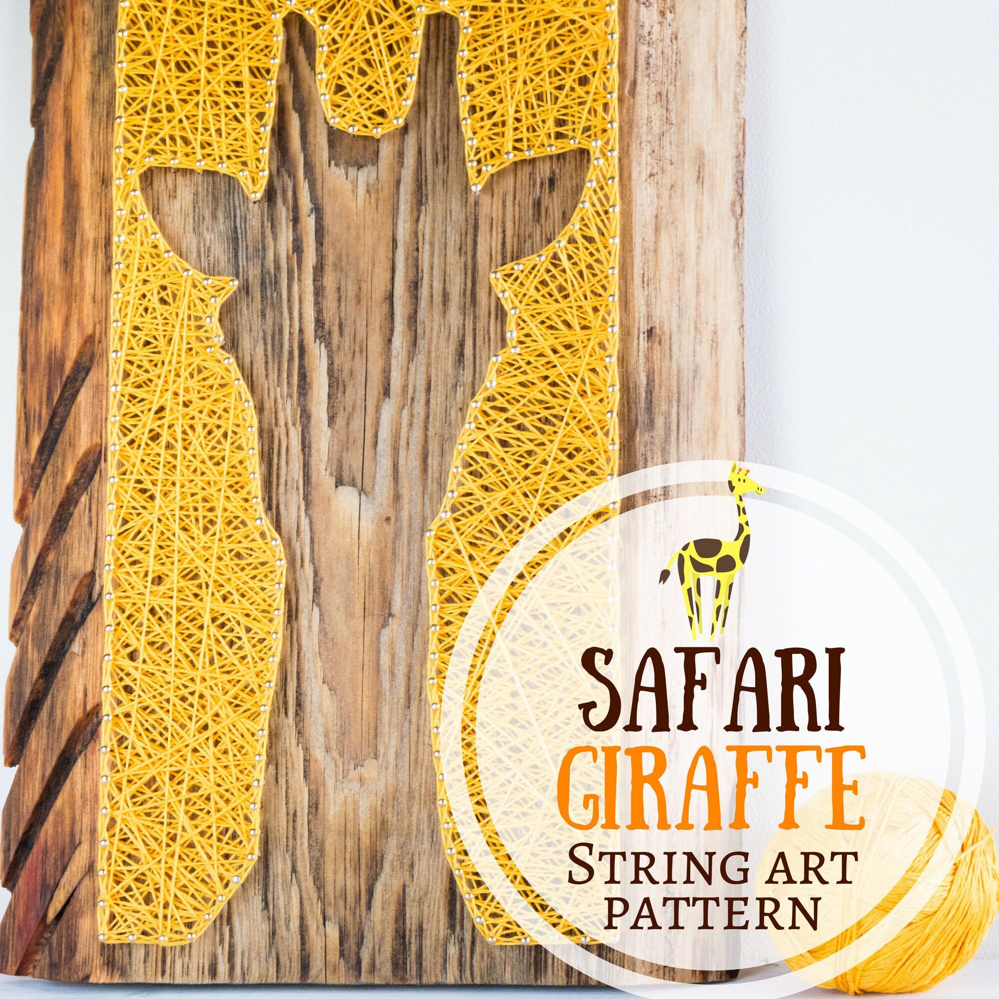 Modern safari giraffe silhouette minimalist string art pattern, DIY ...