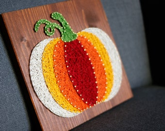 Pumpkin Thanksgiving and fall wall string art sign vivid and neutral colors Halloween autumn home decor and great gift for family and friend
