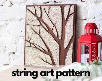 String art pattern printable - tree string art, string art tree pattern with instructions, tutorial. DIY minimalist handmade wall decor