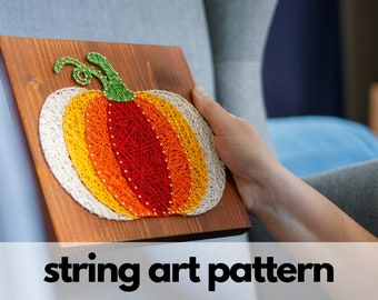 String art pattern printable - Pumpkin string art pattern with instructions and tips, Fall, Halloween, Thanksgiving DIY pattern download