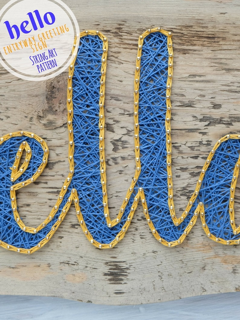 String art pattern printable hello sign DIY template and tutorial string art template for handmade Easter gifts for kids and adults