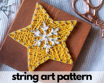 String art pattern printable - Star string art pattern for kids and adults, snowflake string art template printable