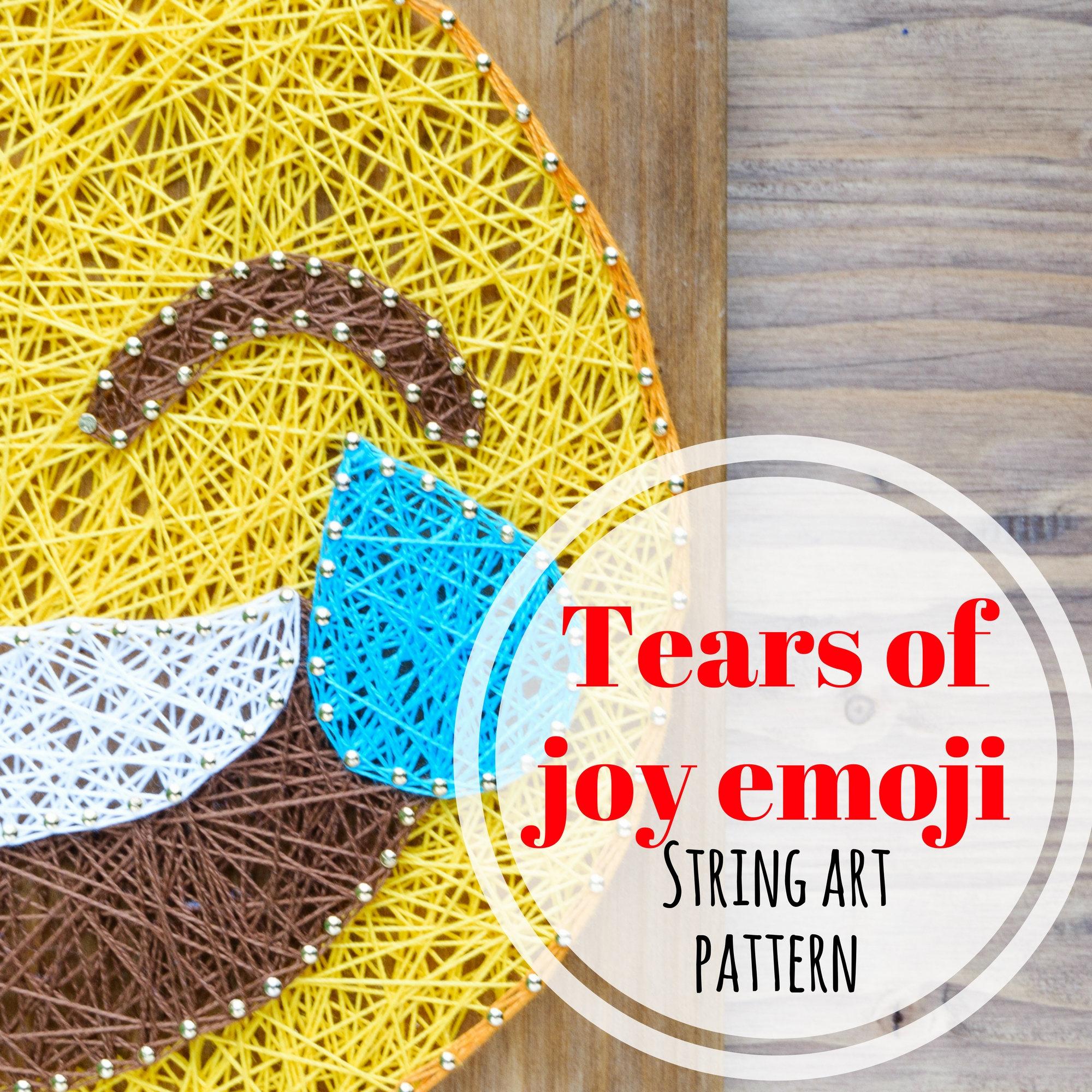 Tears of Joy emoji string art template pattern DIY string