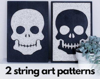 String art pattern printable Halloween skull string art pattern with instructions and tips, minimalist Haloween themed DIY pattern download
