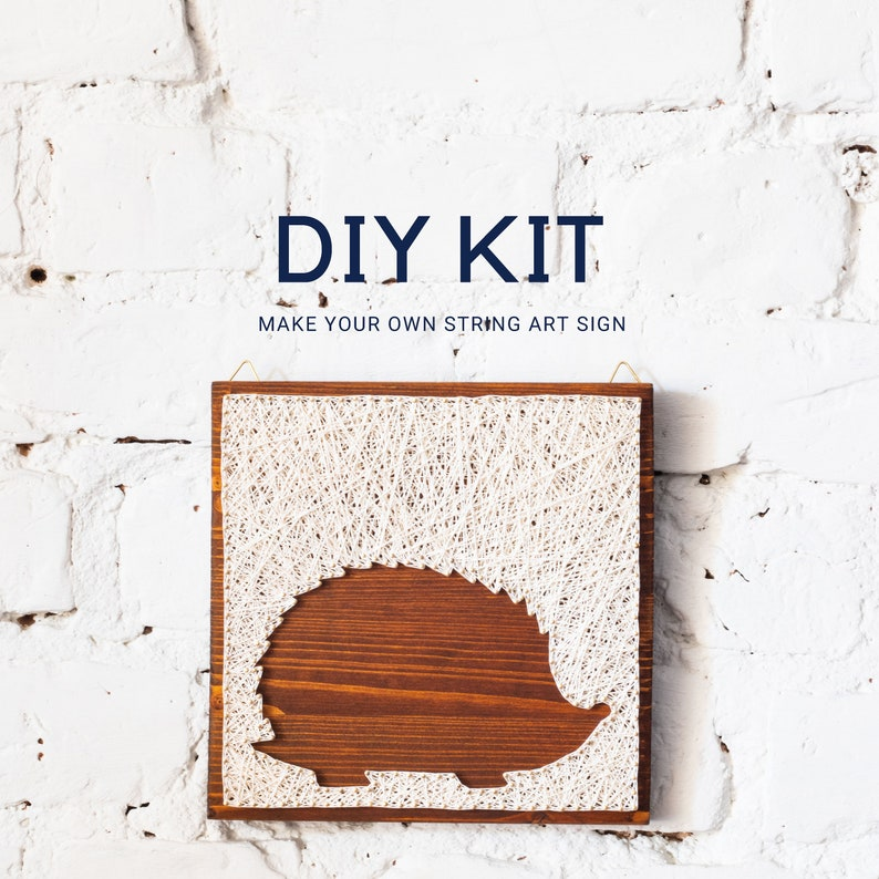 Quarantine DIY  Hedgehog String art DIY kit. Craft kit for image 0