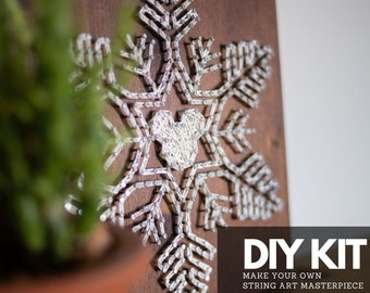 DIY craft kit for adults and kids - Single snowflake String art DIY kit. Step by step DIY gift for friends and family for Holidays.