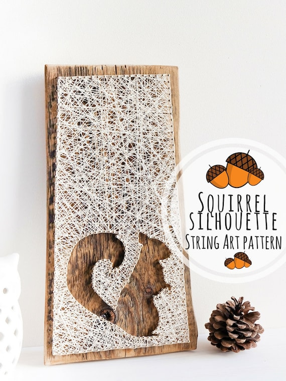 String Art Pattern Printable Squirrel Decor Diy Template And Tutorial String Art Template For Handmade Christmas Gifts For Kids And Adults