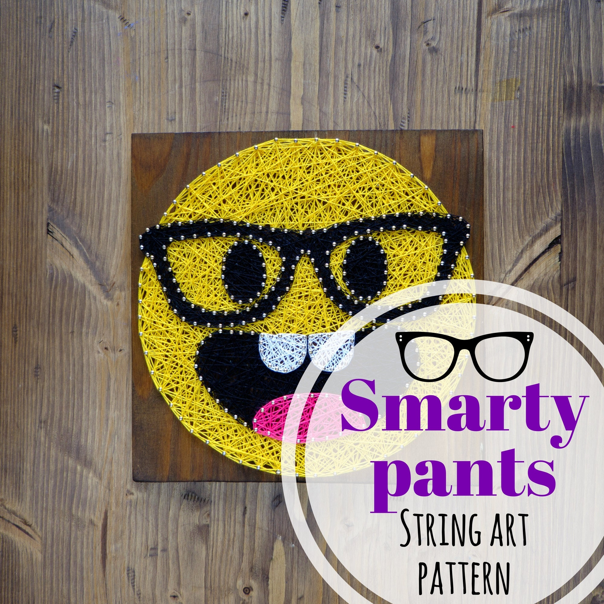 Smarty Pants emoji string art template pattern DIY string | Etsy