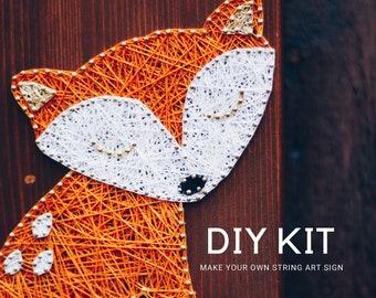 Litttle Fox String art DIY art kit for adults and kids. Craft kit for Holidays.