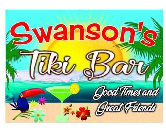 Custom Tiki Sign Featuring a Beach Theme