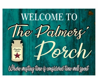 Personalized Porch Sign featuring Milk Can Available in Teal, Blue or Maroon