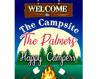 Welcome to the Campsite-Camp Sign featuring Hanging Sign Happy Campers- FREE SHIPPING