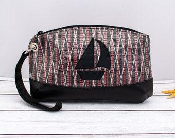 Red Sailcloth Wristlet with Sailboat, Carbon Fiber Sailcloth Bag, Recycled Sail Bag, Nautical Bag, Recycled Sail Cloth Bag, Nautical Gift