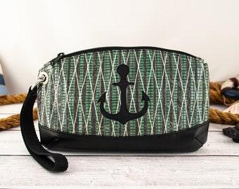 Green Sailcloth Wristlet with Black Anchor, Green Nautical Lining, Recycled Carbon Fiber Sail Bag, Travel Bag, Green Wrist Bag