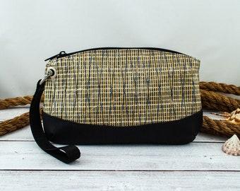 Recycled Sailcloth Wristlet, Kevlar Sailcloth Bag, Gold Anchor Lining, Recycled Sail Bag, Gold and Black Wristlet, Clutch Bag, Nautical Bag