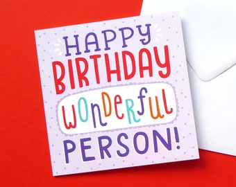 Happy Birthday Card, Happy Birthday Wonderful Person, Cute Birthday Card, Unique Birthday Cards, Purple Birthday Card, Sweet Birthday Cards