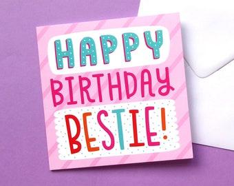 Birthday Card For Best Friend, Cute Birthday Card, Card For Friend, Pink Birthday Card, Birthday Card For Her, Sweet Birthday Card