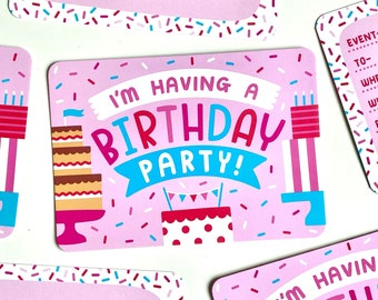 6 Birthday Party Invitations, Pack Of 6 Printed Invites, Pink Birthday Party Invites, Pink Themed Birthday Invitations, Pink Birthday Cake