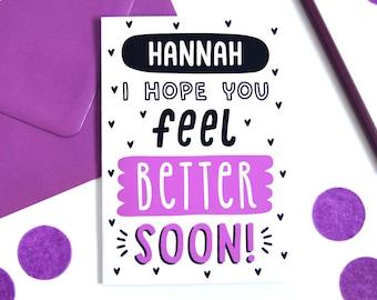 Custom Get Better Soon Card, Hope You Feel Better Soon Card, Get Well Soon Card, Personalisable Get Well Card, Customisable Get Well Card