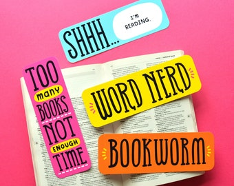 4 Word Nerd Bookmarks, Paper Bookmarks, Funny Bookmarks, Bibliophile Bookmarks, Book Lover Gifts, Writer Gifts, Literary Gifts, Teacher Gift