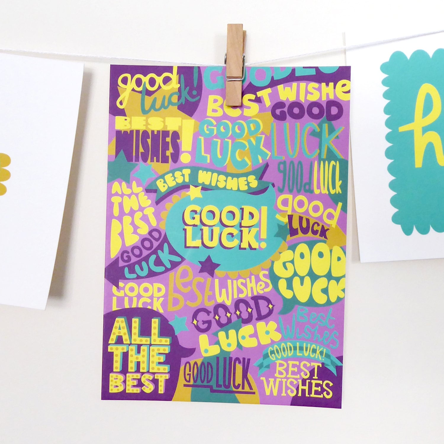 Good Luck Postcard Best Wishes Unisex Cards Good Luck Card Etsy